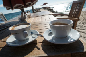 Two cups of coffee at the beach at Juan-les-Pins - Photo by David Innes